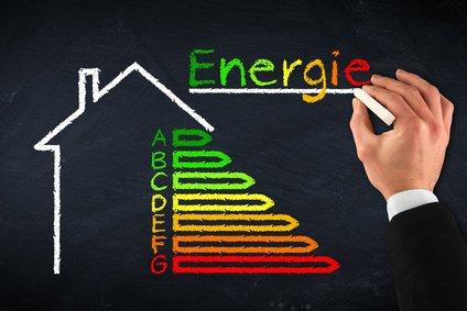 Energieausweis Effizienzklassen aufgemalt auf einer Tafel