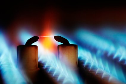 gasflammen im durchlauferhitzer