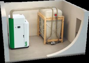 oekofen pelletlagerraum zur befuellung der heizungsanlage