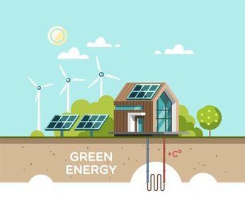 Grafik mit einem Haus und Arten von alternativen Energien