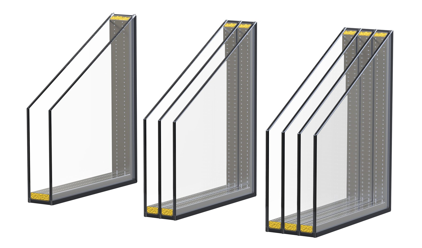 Fensterverglasung in unterschiedlichen Formen