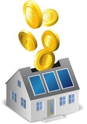 Goldene Münzen fallen ins Haus
