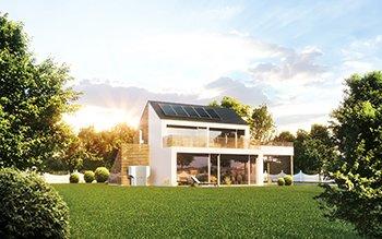 Wolf Solar Haus mit Kollektoren auf dem Dach